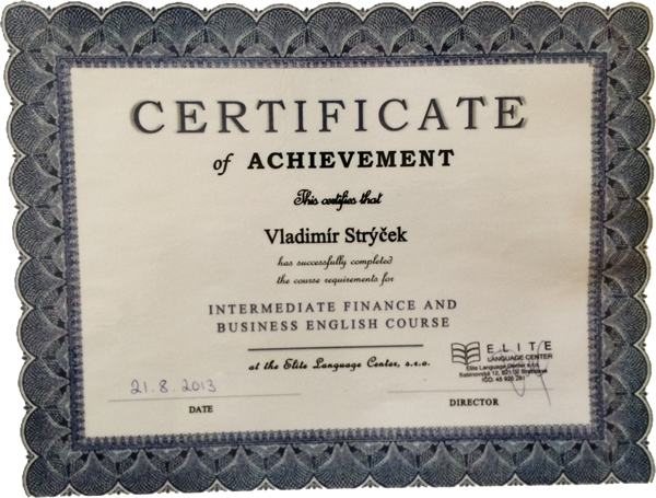 Certifikát Intermediate finance a businnes English course 2013
