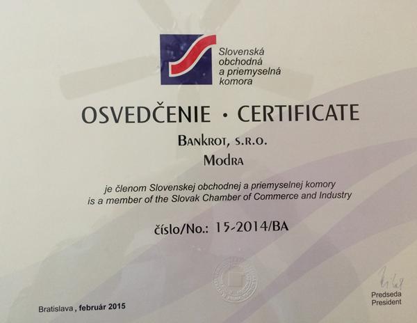 Člen Slovenskej obchodnej a priemyselnej komory č 15-2015 BA